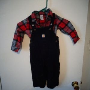 Carhartt Overalls And Flannel Shirt